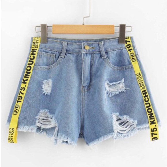 ee54d3ccf5 SHEIN Shorts | Distressed Denim With Yellow | Poshmark